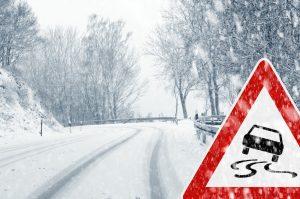 slippery road snowing