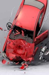 Image of car crashing into ground.