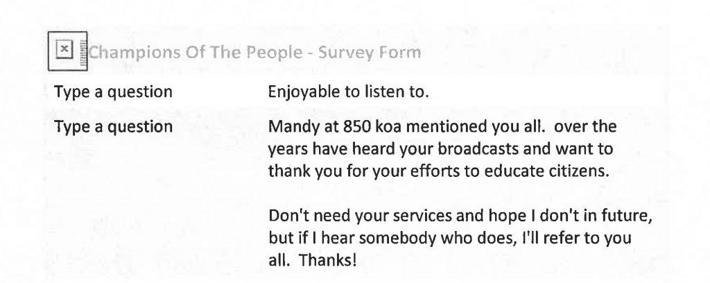 Mandy at KOA thank you note