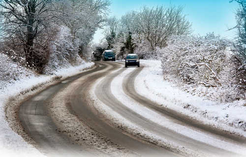 Winter Driving on country road